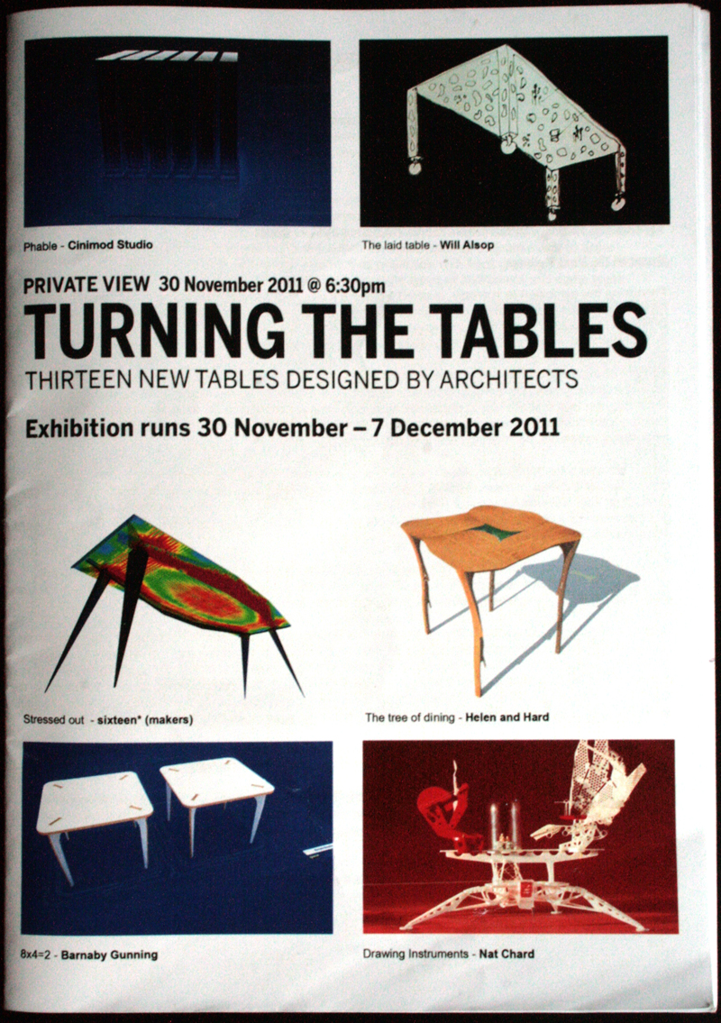 Turning the Tables exhibition at Testbed1 Gallery in London. Works by  Marcos and Marjan, Will Alsop, Nat Chard, Helen & Hard, Naj & de Ostos, Sixteen Makers and Cinimod Studio among others.